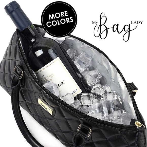 SACHI Handbags - Quilted Wine Tote Purse INSULATED for ICE to CHILL